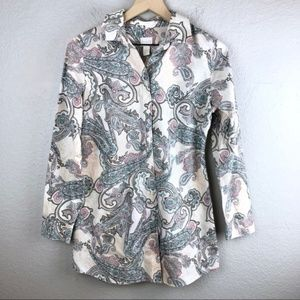 Chico's No Iron Button Up Paisley Blouse